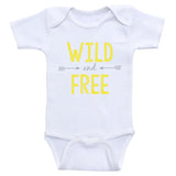 "Hipster One Piece Baby Shirt ""Wild and Free"" Cute Baby Onesie Bodysuit"