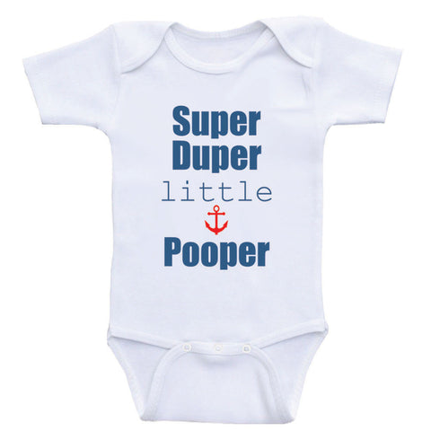 "Baby Boy Clothes ""Super Duper Little Pooper"" Funny Baby Bodysuits For Boys"