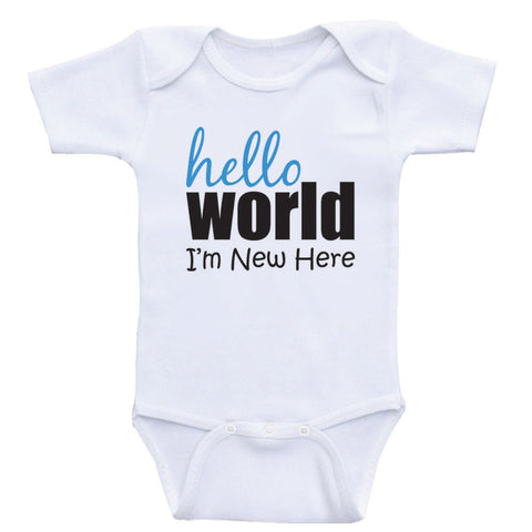 "One Piece Baby Shirts ""Hello World I'm New Here"" Unisex Newborn Baby Clothes Bodysuits"
