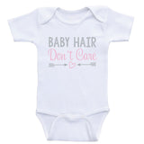 "Newborn Baby Clothes ""Baby Hair Don't Care"" Funny Cute Baby Bodysuits"