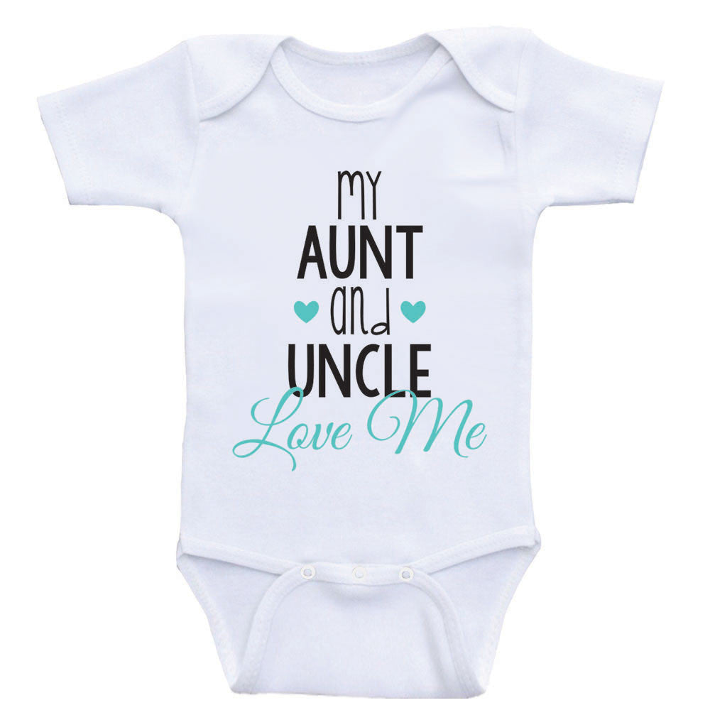 "Aunt Uncle Baby Clothes ""My Aunt and Uncle Love Me"" Cute Newborn Baby One Piece Bodysuits"