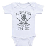 "Pirate Nautical Baby Clothes ""A Pirates Life For Me"" One-Piece Baby Shirts"