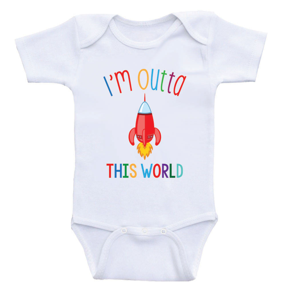 """Unisex Baby Clothes """"Im Outta This World"""" Cute Rocket Baby Shirt"""
