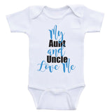 "Aunt Uncle Baby Onesies ""My Aunt and Uncle Love Me"" Unisex Newborn Baby Clothes"