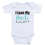 "Uncle Baby Shirts ""I Love My Uncle"" Unisex Newborn Baby Onesies"