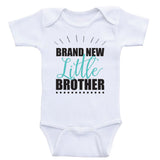 "Baby Brother Shirts ""Brand New Little Brother"" Baby Boy One Piece Shirt"