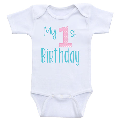 "Birthday Baby Clothes ""My 1st Birthday"" One Piece Birthday Baby Bodysuits"