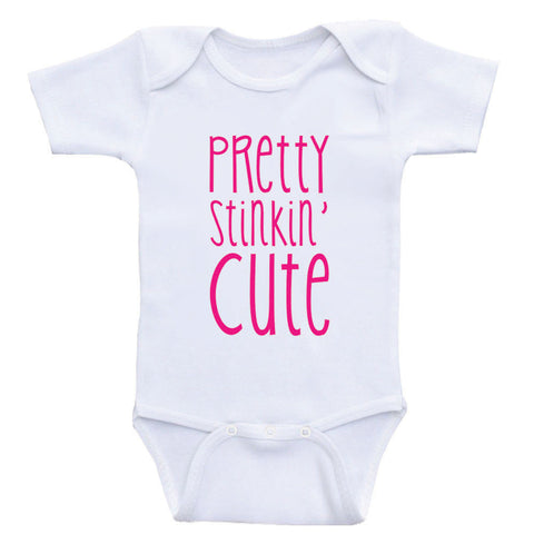 "Cute Baby Clothes ""Pretty Stinkin' Cute"" Unisex Baby One-Piece Bodysuits"