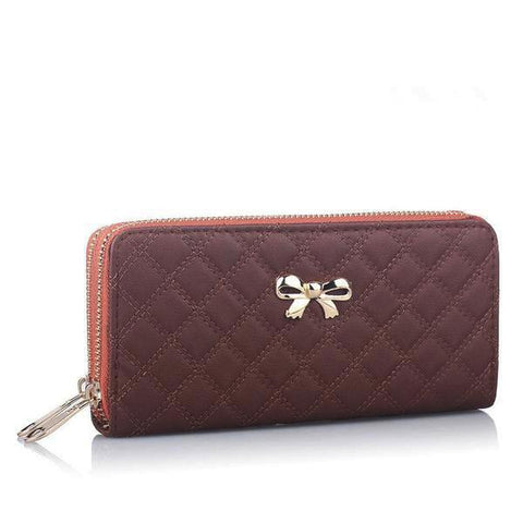 Bowknot Party Plaid Zip Clutch-Wallet - VPWallet.com Online Store for Fashion Accesories
