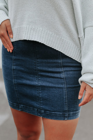 Feeling Blue Denim Skirt - Nineteen Boutique