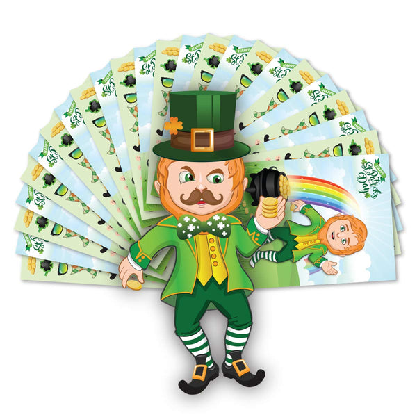 St Patrick's Day Crafts for Kids Make A Leprechaun Sticker Set - 12 Sets