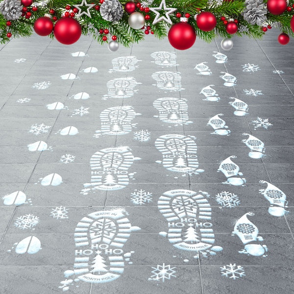 Santa Reindeer & Elf Footprints - 90 Count Footprint Floor Stickers Kit