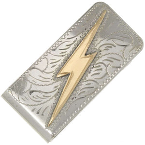 Hand Engraved Gold / Silver Lightning Bolt Money Clip