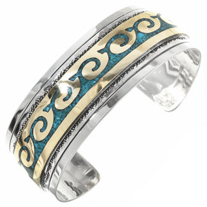 Gold, Silver & Turquoise Cuff Style Bracelet