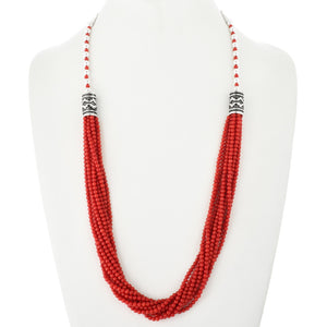 Coral Strand and Sterling Silver Necklace