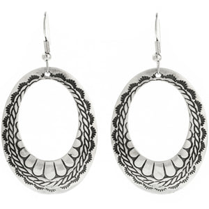 Sterling Silver Open Hoop Dangle Earrings
