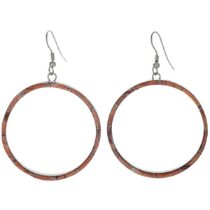 Large Spiny Oyster Inlaid Hoop Earrings