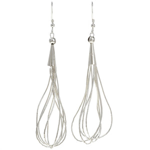 Liquid Silver Statement Dangle Earrings
