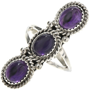 Amethyst & Sterling Silver Pointer Ladies Ring