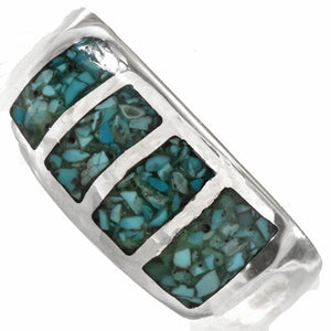Inlaid Turquoise & Sterling Silver Men's Ring