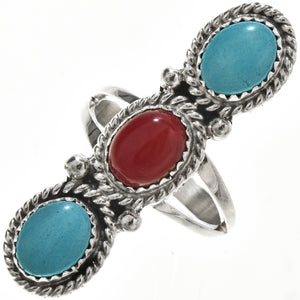 Turquoise & Coral Sterling Silver Ladies Pointer Ring