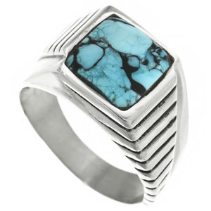 Chiseled Layers Turquoise & Sterling Silver Men's Ring