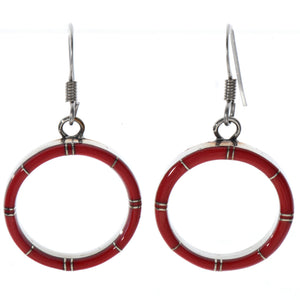 Small Red Coral Inlaid Sterling Silver Hoop Earrings