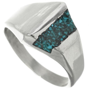 Turquoise Inlaid Sterling Silver Mod Top Ring