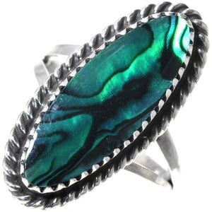 Green Paua Shell - Sterling Silver Ladies Ring