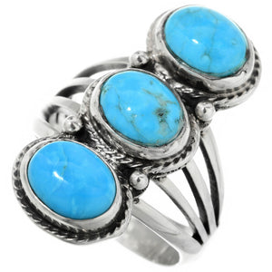 Turquoise & Sterling Silver Ladies Three Stone Pointer Ring