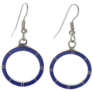 Small Blue Lapis Inlaid Sterling Silver Hoop Earrings