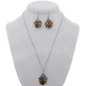 Necklace & Earring Set - Opal, Oyster & Turquoise Inlaid Sterling Silver