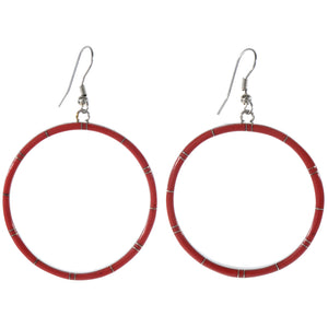 Large Red Coral & Sterling Silver Hoop Earrings