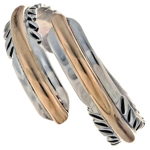 Feather - Gold and Sterling Silver Slim Ladies Ring