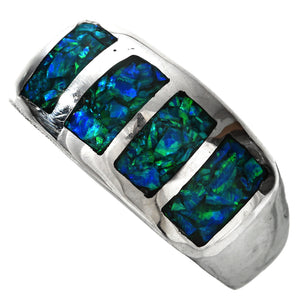 Inlaid Opal & Sterling Silver Men's Ring