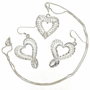 Sterling Silver Heart Pendant & Earring Set