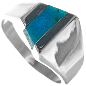 Turquoise Inlaid Sterling Silver Mod Top Mens Ring