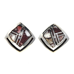 Stone Inlaid Sterling Silver Post Earrings