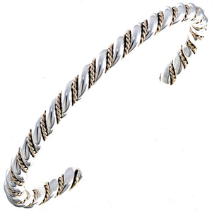 Gold & Sterling Silver Twist Wire Cuff Bracelet