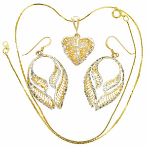 Gold Sterling Heart Pendant / Earring Set