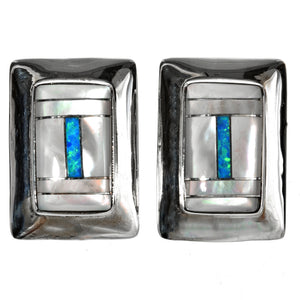 Mother of Pearl & Opal Inlaid Sterling Silver Post Earrings