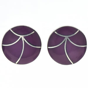 Purple Onyx Inlaid Over Sterling Silver Clip-On Earrings