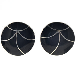Black Jet Inlaid Sterling Silver Clip-on Earrings