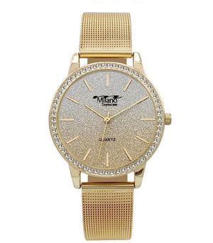 M Milano Expressions Gold Mesh Band Watch with Gold Case Gold Glitter Dial