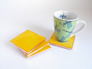Lemon Mexican Tile Beverage Coasters
