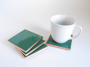 Malachite Mexican Tile Beverage Coasters
