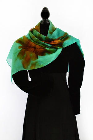 Women's Silk Scarf - Ocean Green and Brown Sierra
