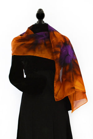 Women's Silk Scarf - Brown Sierra and Violet Purple