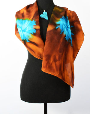 Women's Silk Scarf - Copper and Turquoise
