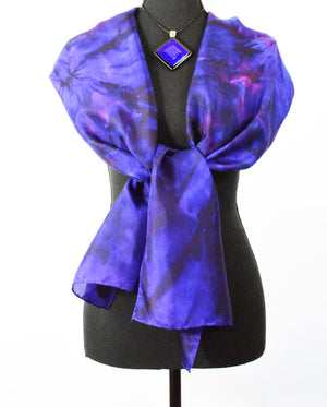 Women's Silk Scarf - Violet Purple, Royal Blue & Smoke Blue